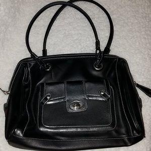 Black leather laptop messenger bag